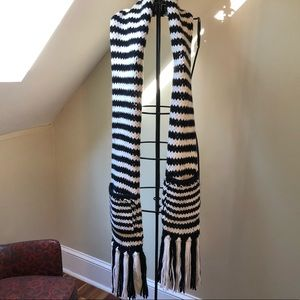 Kate Spade Broome Street Stripe Knit Scarf Pockets